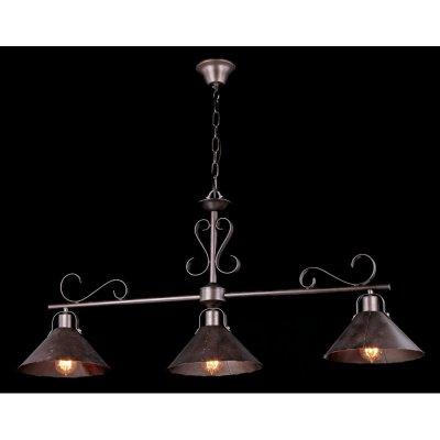 Светильник подвесной Maytoni H104-33-R House 8Подвесные<br><br><br>S освещ. до, м2: 12<br>Крепление: крючок<br>Тип товара: Подвесной светильник<br>Скидка, %: 15<br>Тип лампы: накаливания / энергосбережения / LED-светодиодная<br>Тип цоколя: E27<br>Количество ламп: 3<br>Ширина, мм: 250<br>MAX мощность ламп, Вт: 60<br>Длина цепи/провода, мм: 100<br>Длина, мм: 1100<br>Высота, мм: 490<br>Цвет арматуры: коричневый