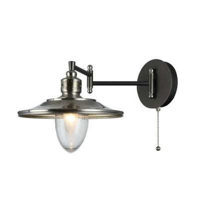 Бра Maytoni H349-WL-01-N Sennaбра в морском стиле<br><br><br>Тип лампы: Накаливания / энергосбережения / светодиодная<br>Тип цоколя: E14<br>Цвет арматуры: никель серебристый<br>Количество ламп: 1<br>Ширина, мм: 251<br>Глубина, мм: 474<br>Высота, мм: 253<br>MAX мощность ламп, Вт: 60