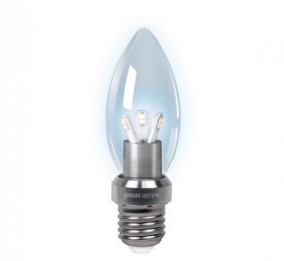 Лампа Gauss LED B35 Candle Crystal clear 5W E27 4100K HA103202205-DВ виде свечи<br><br><br>Тип товара: лампа светодиодная LED<br>Тип лампы: LED - светодиодная<br>Тип цоколя: E27<br>MAX мощность ламп, Вт: 5