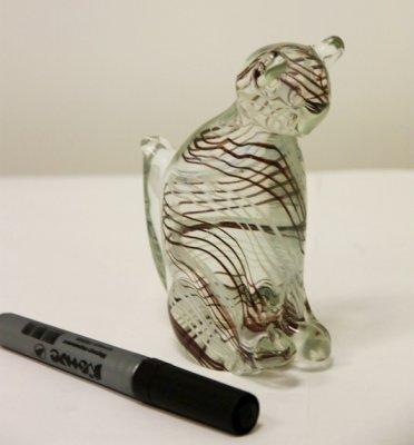 E087 Сувенир из стекла Кошка в черную полоскуПодарки и сувениры<br><br>