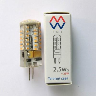 Светодиодная лампа g4 Mw light LBMW0402 SMDКапсульные G4 12v<br>В интернет-магазине «Светодом» можно купить не только люстры и светильники, но и лампочки. В нашем каталоге представлены светодиодные, галогенные, энергосберегающие модели и лампы накаливания. В ассортименте имеются изделия разной мощности, поэтому у нас Вы сможете приобрести все необходимое для освещения. <br> Лампа Mw-light LBMW0402 обеспечит отличное качество освещения. При покупке ознакомьтесь с параметрами в разделе «Характеристики», чтобы не ошибиться в выборе. Там же указано, для каких осветительных приборов Вы можете использовать лампу Mw-light LBMW0402Mw-light LBMW0402. <br> Для оформления покупки воспользуйтесь «Корзиной». При наличии вопросов Вы можете позвонить нашим менеджерам по одному из контактных номеров. Мы доставляем заказы в Москву, Екатеринбург и другие города России.<br><br>Цветовая t, К: WW - теплый белый 2700-3000 К<br>Тип лампы: LED - светодиодная<br>Тип цоколя: G4<br>Диаметр, мм мм: 15<br>Высота, мм: 43
