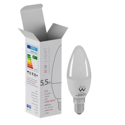 LBMW14C04 Mw light ЛампочкаВ виде свечи<br><br><br>Цветовая t, К: 2700<br>Тип лампы: LED<br>Тип цоколя: E14<br>MAX мощность ламп, Вт: 5.5