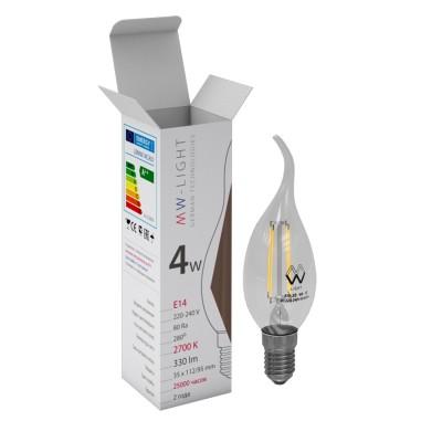 Светодиодная лампа Mw light LBMW14CA01 FILAMENTЛампы светодиодные LED в виде свечи для хрустальных люстр<br>В интернет-магазине «Светодом» можно купить не только люстры и светильники, но и лампочки. В нашем каталоге представлены светодиодные, галогенные, энергосберегающие модели и лампы накаливания. В ассортименте имеются изделия разной мощности, поэтому у нас Вы сможете приобрести все необходимое для освещения. <br> Лампа Mw-light LBMW14CA01 обеспечит отличное качество освещения. При покупке ознакомьтесь с параметрами в разделе «Характеристики», чтобы не ошибиться в выборе. Там же указано, для каких осветительных приборов Вы можете использовать лампу Mw-light LBMW14CA01Mw-light LBMW14CA01. <br> Для оформления покупки воспользуйтесь «Корзиной». При наличии вопросов Вы можете позвонить нашим менеджерам по одному из контактных номеров. Мы доставляем заказы в Москву, Екатеринбург и другие города России.<br><br>Цветовая t, К: WW - теплый белый 2700-3000 К<br>Тип лампы: LED - светодиодная<br>Тип цоколя: E14<br>Диаметр, мм мм: 35<br>Высота, мм: 112<br>MAX мощность ламп, Вт: 4<br>Общая мощность, Вт: 4