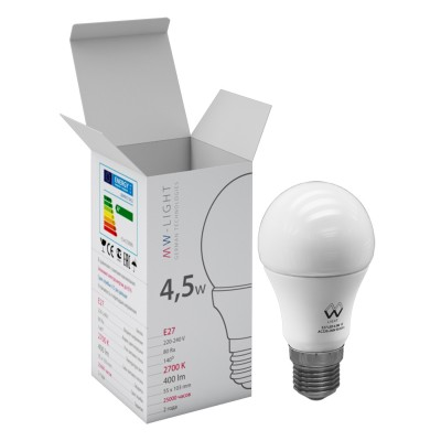 Светодиодная лампа Mw light LBMW27A02 SMDСтандартный вид<br>В интернет-магазине «Светодом» можно купить не только люстры и светильники, но и лампочки. В нашем каталоге представлены светодиодные, галогенные, энергосберегающие модели и лампы накаливания. В ассортименте имеются изделия разной мощности, поэтому у нас Вы сможете приобрести все необходимое для освещения.   Лампа Mw-light LBMW27A02 обеспечит отличное качество освещения. При покупке ознакомьтесь с параметрами в разделе «Характеристики», чтобы не ошибиться в выборе. Там же указано, для каких осветительных приборов Вы можете использовать лампу Mw-light LBMW27A02Mw-light LBMW27A02.   Для оформления покупки воспользуйтесь «Корзиной». При наличии вопросов Вы можете позвонить нашим менеджерам по одному из контактных номеров. Мы доставляем заказы в Москву, Екатеринбург и другие города России.<br><br>S освещ. до, м2: 1<br>Цветовая t, К: WW - теплый белый 2700-3000 К<br>Тип лампы: LED - светодиодная<br>Тип цоколя: E27<br>Диаметр, мм мм: 55<br>Высота, мм: 103