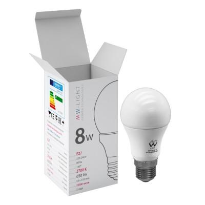 Светодиодная лампа Mw light LBMW27A03 SMDСтандартный вид<br>В интернет-магазине «Светодом» можно купить не только люстры и светильники, но и лампочки. В нашем каталоге представлены светодиодные, галогенные, энергосберегающие модели и лампы накаливания. В ассортименте имеются изделия разной мощности, поэтому у нас Вы сможете приобрести все необходимое для освещения.   Лампа Mw-light LBMW27A03 обеспечит отличное качество освещения. При покупке ознакомьтесь с параметрами в разделе «Характеристики», чтобы не ошибиться в выборе. Там же указано, для каких осветительных приборов Вы можете использовать лампу Mw-light LBMW27A03Mw-light LBMW27A03.   Для оформления покупки воспользуйтесь «Корзиной». При наличии вопросов Вы можете позвонить нашим менеджерам по одному из контактных номеров. Мы доставляем заказы в Москву, Екатеринбург и другие города России.<br><br>S освещ. до, м2: 3<br>Цветовая t, К: WW - теплый белый 2700-3000 К<br>Тип лампы: LED - светодиодная<br>Тип цоколя: E27<br>MAX мощность ламп, Вт: 8<br>Диаметр, мм мм: 55<br>Высота, мм: 103<br>Общая мощность, Вт: 8