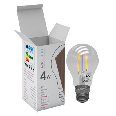 Светодиодная лампа Mw light LBMW27A05 FILAMENTFilament LED<br>В интернет-магазине «Светодом» можно купить не только люстры и светильники, но и лампочки. В нашем каталоге представлены светодиодные, галогенные, энергосберегающие модели и лампы накаливания. В ассортименте имеются изделия разной мощности, поэтому у нас Вы сможете приобрести все необходимое для освещения.   Лампа Mw-light LBMW27A05 обеспечит отличное качество освещения. При покупке ознакомьтесь с параметрами в разделе «Характеристики», чтобы не ошибиться в выборе. Там же указано, для каких осветительных приборов Вы можете использовать лампу Mw-light LBMW27A05Mw-light LBMW27A05.   Для оформления покупки воспользуйтесь «Корзиной». При наличии вопросов Вы можете позвонить нашим менеджерам по одному из контактных номеров. Мы доставляем заказы в Москву, Екатеринбург и другие города России.<br><br>Цветовая t, К: WW - теплый белый 2700-3000 К<br>Тип лампы: LED - светодиодная<br>Тип цоколя: E27<br>Диаметр, мм мм: 55<br>Высота, мм: 109<br>MAX мощность ламп, Вт: 4