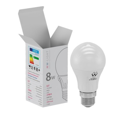 LBMW27A08 Mw light ЛампочкаСтандартный вид<br><br><br>Цветовая t, К: 2700<br>Тип лампы: LED<br>Тип цоколя: E27<br>MAX мощность ламп, Вт: 8
