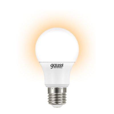 Лампа Gauss LED Elementary A60 6.5W E27 2700K LD23217Стандартный вид<br><br><br>Тип товара: лампа светодиодная LED<br>Тип лампы: LED - светодиодная<br>Тип цоколя: E27<br>MAX мощность ламп, Вт: 6,5