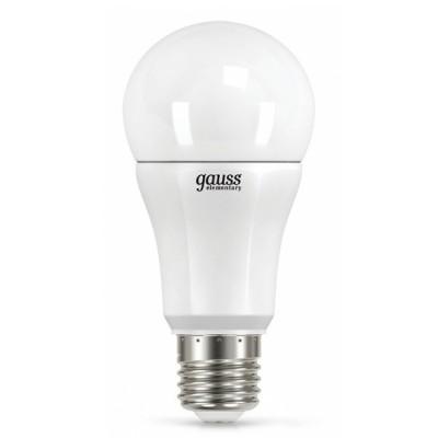 Лампа Gauss LD23210 LED Elementary A60 E27 10W 2700K 1/40Стандартный вид<br><br><br>Цветовая t, К: WW - теплый белый 2700-3000 К<br>Тип лампы: LED - светодиодная<br>Тип цоколя: E27<br>MAX мощность ламп, Вт: 10