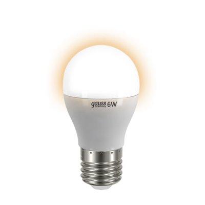 Лампа Gauss LED Elementary Globe 6W E27 2700K LD53216Стандартный вид<br><br><br>Тип товара: лампа светодиодная LED<br>Тип лампы: LED - светодиодная<br>Тип цоколя: E27<br>MAX мощность ламп, Вт: 6