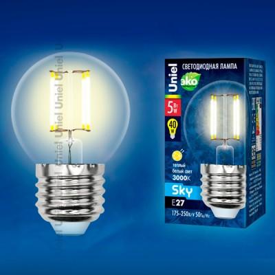 Лампа светодиодная Uniel LED-G45-5W/WW/E27/CL PLS02WHВ виде шарика<br><br><br>Тип товара: Лампа светодиодная<br>Цветовая t, К: WW - теплый белый 2700-3000 К<br>Тип лампы: LED - светодиодная<br>Тип цоколя: E27<br>MAX мощность ламп, Вт: 6<br>Диаметр, мм мм: 45<br>Длина, мм: 70