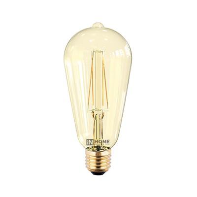 Лампа светодиодная LED-ST64-deco 7Вт 230В Е27 3000К 630Лм золотистая IN HOMEРетро стиля<br><br><br>Цветовая t, К: WW - теплый белый 2700-3000 К (3000)<br>Тип лампы: LED<br>Тип цоколя: E27<br>Диаметр, мм мм: 64<br>Высота, мм: 145<br>MAX мощность ламп, Вт: 7