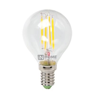 Лампа светодиодная LED-ШАР-deco 5Вт 230В Е14 4000К 450Лм прозрачная IN HOMEВ виде шарика<br>В интернет-магазине «Светодом» можно купить не только люстры и светильники, но и лампочки. В нашем каталоге представлены светодиодные, галогенные, энергосберегающие модели и лампы накаливания. В ассортименте имеются изделия разной мощности, поэтому у нас Вы сможете приобрести все необходимое для освещения.   Лампа LED-ШАР-deco 5Вт 230В Е14 4000К 450Лм прозрачная IN HOME обеспечит отличное качество освещения. При покупке ознакомьтесь с параметрами в разделе «Характеристики», чтобы не ошибиться в выборе. Там же указано, для каких осветительных приборов Вы можете использовать лампу LED-ШАР-deco 5Вт 230В Е14 4000К 450Лм прозрачная IN HOMELED-ШАР-deco 5Вт 230В Е14 4000К 450Лм прозрачная IN HOME.   Для оформления покупки воспользуйтесь «Корзиной». При наличии вопросов Вы можете позвонить нашим менеджерам по одному из контактных номеров. Мы доставляем заказы в Москву, Екатеринбург и другие города России.<br><br>Цветовая t, К: 4000<br>Тип лампы: LED<br>Тип цоколя: E14<br>Диаметр, мм мм: 45<br>Высота, мм: 78<br>MAX мощность ламп, Вт: 5