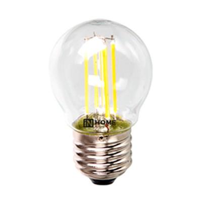 Лампа светодиодная LED-ШАР-deco 5Вт 230В Е27 3000К 450Лм прозрачная IN HOMEВ виде шарика<br>В интернет-магазине «Светодом» можно купить не только люстры и светильники, но и лампочки. В нашем каталоге представлены светодиодные, галогенные, энергосберегающие модели и лампы накаливания. В ассортименте имеются изделия разной мощности, поэтому у нас Вы сможете приобрести все необходимое для освещения.   Лампа LED-ШАР-deco 5Вт 230В Е27 3000К 450Лм прозрачная IN HOME обеспечит отличное качество освещения. При покупке ознакомьтесь с параметрами в разделе «Характеристики», чтобы не ошибиться в выборе. Там же указано, для каких осветительных приборов Вы можете использовать лампу LED-ШАР-deco 5Вт 230В Е27 3000К 450Лм прозрачная IN HOMELED-ШАР-deco 5Вт 230В Е27 3000К 450Лм прозрачная IN HOME.   Для оформления покупки воспользуйтесь «Корзиной». При наличии вопросов Вы можете позвонить нашим менеджерам по одному из контактных номеров. Мы доставляем заказы в Москву, Екатеринбург и другие города России.<br><br>Цветовая t, К: 3000<br>Тип лампы: LED<br>Тип цоколя: E27<br>MAX мощность ламп, Вт: 5<br>Диаметр, мм мм: 45<br>Высота, мм: 78