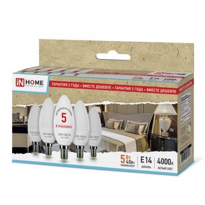 Лампа светодиодная LED-СВЕЧА-ECO 5Вт 230В Е14 4000К 375Лм (5шт в упаковке) IN HOMEВ виде свечи<br>В интернет-магазине «Светодом» можно купить не только люстры и светильники, но и лампочки. В нашем каталоге представлены светодиодные, галогенные, энергосберегающие модели и лампы накаливания. В ассортименте имеются изделия разной мощности, поэтому у нас Вы сможете приобрести все необходимое для освещения.   Лампа LED-СВЕЧА-ECO 5Вт 230В Е14 4000К 375Лм (5шт в упаковке) IN HOME обеспечит отличное качество освещения. При покупке ознакомьтесь с параметрами в разделе «Характеристики», чтобы не ошибиться в выборе. Там же указано, для каких осветительных приборов Вы можете использовать лампу LED-СВЕЧА-ECO 5Вт 230В Е14 4000К 375Лм (5шт в упаковке) IN HOMELED-СВЕЧА-ECO 5Вт 230В Е14 4000К 375Лм (5шт в упаковке) IN HOME.   Для оформления покупки воспользуйтесь «Корзиной». При наличии вопросов Вы можете позвонить нашим менеджерам по одному из контактных номеров. Мы доставляем заказы в Москву, Екатеринбург и другие города России.<br><br>Цветовая t, К: 4000<br>Тип лампы: LED<br>Тип цоколя: E14<br>Количество ламп: 5<br>MAX мощность ламп, Вт: 5<br>Диаметр, мм мм: 37<br>Высота, мм: 98