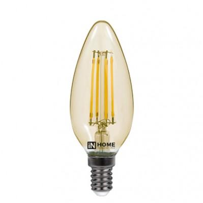Лампа светодиодная LED-СВЕЧА-deco 5Вт 230В Е14 3000К 450Лм золотистая IN HOMEВ виде свечи<br><br><br>Цветовая t, К: 3000<br>Тип лампы: LED<br>Тип цоколя: E14<br>MAX мощность ламп, Вт: 5<br>Диаметр, мм мм: 35<br>Высота, мм: 100