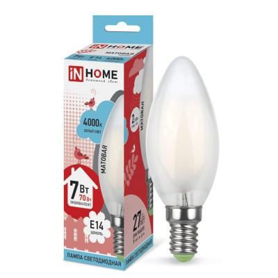 Лампа светодиодная LED-СВЕЧА-deco 5Вт 230В Е14 4000К 450Лм матовая IN HOMEВ виде свечи<br>В интернет-магазине «Светодом» можно купить не только люстры и светильники, но и лампочки. В нашем каталоге представлены светодиодные, галогенные, энергосберегающие модели и лампы накаливания. В ассортименте имеются изделия разной мощности, поэтому у нас Вы сможете приобрести все необходимое для освещения.   Лампа LED-СВЕЧА-deco 5Вт 230В Е14 4000К 450Лм матовая IN HOME обеспечит отличное качество освещения. При покупке ознакомьтесь с параметрами в разделе «Характеристики», чтобы не ошибиться в выборе. Там же указано, для каких осветительных приборов Вы можете использовать лампу LED-СВЕЧА-deco 5Вт 230В Е14 4000К 450Лм матовая IN HOMELED-СВЕЧА-deco 5Вт 230В Е14 4000К 450Лм матовая IN HOME.   Для оформления покупки воспользуйтесь «Корзиной». При наличии вопросов Вы можете позвонить нашим менеджерам по одному из контактных номеров. Мы доставляем заказы в Москву, Екатеринбург и другие города России.<br><br>Цветовая t, К: 4000<br>Тип лампы: LED<br>Тип цоколя: E14<br>MAX мощность ламп, Вт: 5<br>Диаметр, мм мм: 35<br>Высота, мм: 100