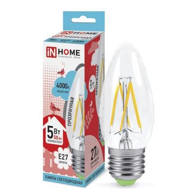 Лампа светодиодная LED-СВЕЧА-deco 5Вт 230В Е27 4000К 450Лм прозрачная IN HOMEВ виде свечи<br>В интернет-магазине «Светодом» можно купить не только люстры и светильники, но и лампочки. В нашем каталоге представлены светодиодные, галогенные, энергосберегающие модели и лампы накаливания. В ассортименте имеются изделия разной мощности, поэтому у нас Вы сможете приобрести все необходимое для освещения.   Лампа LED-СВЕЧА-deco 5Вт 230В Е27 4000К 450Лм прозрачная IN HOME обеспечит отличное качество освещения. При покупке ознакомьтесь с параметрами в разделе «Характеристики», чтобы не ошибиться в выборе. Там же указано, для каких осветительных приборов Вы можете использовать лампу LED-СВЕЧА-deco 5Вт 230В Е27 4000К 450Лм прозрачная IN HOMELED-СВЕЧА-deco 5Вт 230В Е27 4000К 450Лм прозрачная IN HOME.   Для оформления покупки воспользуйтесь «Корзиной». При наличии вопросов Вы можете позвонить нашим менеджерам по одному из контактных номеров. Мы доставляем заказы в Москву, Екатеринбург и другие города России.<br><br>Цветовая t, К: 4000<br>Тип лампы: LED<br>Тип цоколя: E27<br>Диаметр, мм мм: 35<br>Высота, мм: 100<br>MAX мощность ламп, Вт: 5