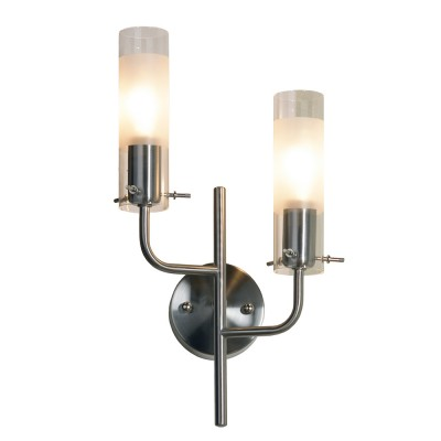 Светильник Lussole LSA-0201-02 Leinell никельСовременные<br>LSA-0201-02<br><br>S освещ. до, м2: 6<br>Тип лампы: накаливания / энергосбережения / LED-светодиодная<br>Тип цоколя: E14<br>Количество ламп: 2<br>Ширина, мм: 200<br>MAX мощность ламп, Вт: 40<br>Расстояние от стены, мм: 120<br>Высота, мм: 380<br>Оттенок (цвет): белый<br>Цвет арматуры: серый