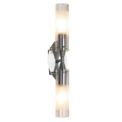 Светильник Lussole LSA-0221-02 Leinell никельМодерн<br>LSA-0221-02<br><br>S освещ. до, м2: 6<br>Тип лампы: накаливания / энергосбережения / LED-светодиодная<br>Тип цоколя: E14<br>Количество ламп: 2<br>Ширина, мм: 80<br>MAX мощность ламп, Вт: 40<br>Расстояние от стены, мм: 140<br>Высота, мм: 390<br>Оттенок (цвет): белый<br>Цвет арматуры: серый