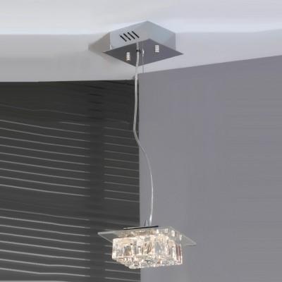 Светильник Lussole LSA-0706-04 Chirignago хромОдиночные<br>Светильник LUSSOLE LSA-0706-04 CHIRIGNAGO будет отличным решением освещения пространства с высокими потолками и небольшой площадью. Благодаря форме плафона луч света получается направленным и ярким. Повторяющийся элемент конструкции – квадрат создает законченный и совершенный образ. Современный дизайн светильника делает его желанным приобретением для любого интерьера в стиле «модерн»!<br><br>S освещ. до, м2: 6<br>Тип лампы: галогенная / LED-светодиодная<br>Тип цоколя: G4<br>Количество ламп: 4<br>Ширина, мм: 160<br>MAX мощность ламп, Вт: 20W<br>Длина, мм: 180<br>Высота, мм: 100-1200<br>Оттенок (цвет): прозрачный+кристальный<br>Цвет арматуры: серебристый хром
