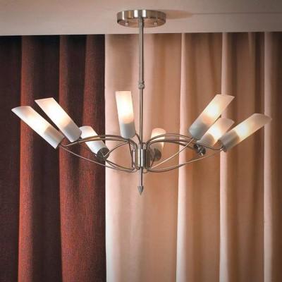 Люстра Lussole LSA-2813-08 LANOПотолочные<br>Роскошный потолочный светильник Lussole LSA-2813-08 Lano создан, чтобы стать настоящим украшением большой комнаты, например, гостиной, зала, кухни-столовой и т.п., ведь благодаря восьми плафонам, равномерно расположенным по диаметру конструкции, он создает освещение на площади до 32 кв.м! Стильные «металлические оттенки» отлично подойдут в любую цветовую гамму комнаты. «Минимализм» и отсутствие декоративных элементов позволяют светильнику великолепно «вписаться» в интерьер в стиле «модерн» или «хай-тек».<br><br>Установка на натяжной потолок: Да<br>S освещ. до, м2: 32<br>Крепление: Планка<br>Тип лампы: накаливания / энергосбережения / LED-светодиодная<br>Тип цоколя: E14<br>Цвет арматуры: серый<br>Количество ламп: 8<br>Диаметр, мм мм: 840<br>Высота, мм: 380-520<br>Оттенок (цвет): белый<br>MAX мощность ламп, Вт: 40