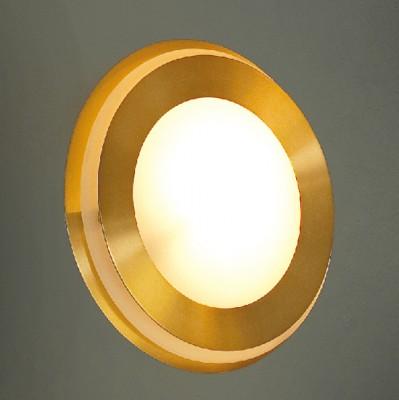 Светильник настенно-потолочный Lussole LSC-0411-01 REGGIANIКруглые<br>Настенно потолочный светильник Lussole (Люссоль) LSC-0411-01  подходит как для установки в вертикальном положении - на стены, так и для установки в горизонтальном - на потолок. Для установки настенно потолочных светильников на натяжной потолок необходимо использовать светодиодные лампы LED, которые экономнее ламп Ильича (накаливания) в 10 раз, выделяют мало тепла и не дадут расплавиться Вашему потолку.<br><br>S освещ. до, м2: 4<br>Тип лампы: галогенная / LED-светодиодная<br>Тип цоколя: G9<br>Цвет арматуры: золотой<br>Количество ламп: 1<br>Диаметр, мм мм: 160<br>Расстояние от стены, мм: 60<br>Оттенок (цвет): белый<br>MAX мощность ламп, Вт: 50