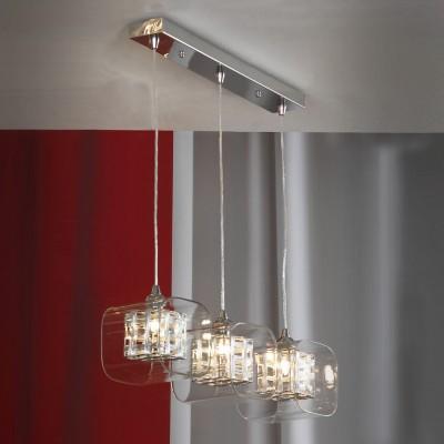 Светильник подвесной Lussole LSC-8006-03 SorsoТройные<br>Стильный подвесной светильник Lussole Lsc-8006-03 воплощает в себе лучшие характеристики стиля «модерн»: оригинальная, запоминающаяся конструкция гармонично сочетается с «универсальными» цветовыми оттенками. Квадратные плафоны, как будто вырезанные из цельных кристаллов, «обрамлены» в стеклянную «оболочку», и лучи, проходящие сквозь множество граней, создают необычное, яркое и «искрящееся» освещение. Светильник «вытянут» в длину, поэтому наиболее выигрышно будет смотреться в качестве подсветки похожей по форме поверхности, например, обеденного стола, барной стойки или длинной полки с книгами или сувенирами.<br><br>S освещ. до, м2: 6<br>Тип цоколя: G9<br>Цвет арматуры: серебристый<br>Количество ламп: 3<br>Ширина, мм: 120<br>Длина, мм: 540<br>Высота, мм: 1100<br>MAX мощность ламп, Вт: 40
