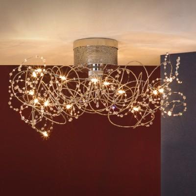 Люстра Lussole LSF-0403-15 Ronchi никельПотолочные<br>Итальянская люстра LUSSOLE LSF-0403-15 RONCHI – это выбор творческих и современных натур! Ее уникальная форма напоминает запутанный клубок пряжи с хрустальными каплями дождя, среди которых выглядывают лампочки-светлячки. Несмотря на кажущуюся «легкомысленность»  люстры, она создает мощное освещение на расстоянии до двадцати квадратных метров, и идеально впишется в просторное большое помещение. Мимо нее никто не пройдет равнодушно, она бросает вызов устаревшим и архаичным предметам интерьера!<br><br>Установка на натяжной потолок: Да<br>S освещ. до, м2: 20<br>Крепление: Планка<br>Тип лампы: галогенная / LED-светодиодная<br>Тип цоколя: G4<br>Количество ламп: 15<br>MAX мощность ламп, Вт: 20<br>Диаметр, мм мм: 920<br>Высота, мм: 450<br>Оттенок (цвет): кристальный<br>Цвет арматуры: серый