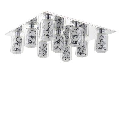 Люстра Lussole lsj-0307-09Потолочные<br>Потолочный светильник Lussole lsj-0307-09 придется по вкусу всем ценителям современных стилей оформления интерьеров - «строгие» геометрические линии, отсутствие декоративных элементов, использование металла и стекла – все эти характеристики являются главными атрибутами «модерна» и «хай-тека». На плоском квадратном креплении расположены девять плафонов, которые создают освещение на площади до 24 кв.м. Конструкция плафонов необычна и напоминает «матрешку»: в большой прозрачный «цилиндр» помещен матовый «цилиндр» меньшего диаметра, украшенный черным рисунком, что выглядит эффектно, стильно и создает «настроение» в комнате. Добавьте в интерьер несколько настенных бра из этой же серии, и пространство станет уютным, «цельным» и гармоничным.<br><br>Установка на натяжной потолок: Ограничено<br>S освещ. до, м2: 24<br>Крепление: Планка<br>Тип товара: Люстра<br>Тип лампы: галогенная / LED-светодиодная<br>Тип цоколя: G9<br>Количество ламп: 9<br>Ширина, мм: 480<br>MAX мощность ламп, Вт: 40<br>Длина, мм: 480<br>Высота, мм: 150<br>Цвет арматуры: серебристый