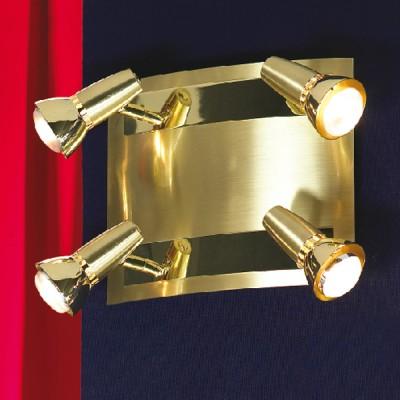 Люстра Lussole LSL-1401-04 Aprilia золотоПоворотные<br>LSL-1401-04<br><br>Установка на натяжной потолок: Да<br>S освещ. до, м2: 11<br>Крепление: Планка<br>Тип лампы: накал-я - энергосбер-я/LED R74<br>Тип цоколя: R50<br>Количество ламп: 4<br>Ширина, мм: 220<br>MAX мощность ламп, Вт: 40<br>Расстояние от стены, мм: 130<br>Высота, мм: 260<br>Цвет арматуры: золотой