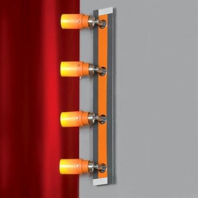 Светильник Lussole LSL-2209-04 Tramonto никельС 4 лампами<br>У этого светильника, как и у предыдущего, четыре плафона, но они расположены не квадратом, а в виде прямой линии, что позволяет установить его в любых «вытянутых» местах, например, вдоль стеклянной полки, или вдоль настенного зеркала. Наличие поворотного механизма дает возможность направить лучи света в те стороны, которые вам необходимо выделить. «Теплая» оранжевая цветовая гамма будет дарить положительный настрой и создавать в доме уют.<br><br>S освещ. до, м2: 10<br>Тип лампы: галогенная / LED-светодиодная<br>Тип цоколя: G9<br>Количество ламп: 4<br>Ширина, мм: 80<br>MAX мощность ламп, Вт: 40<br>Расстояние от стены, мм: 170<br>Высота, мм: 550<br>Оттенок (цвет): оранжевый переходящий<br>Цвет арматуры: разноцветный
