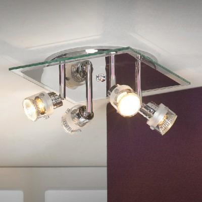 Люстра Lussole LSL-5291-04 Perspicuo хромПоворотные<br>LSL-5291-04<br><br>Установка на натяжной потолок: Ограничено<br>S освещ. до, м2: 11<br>Крепление: Планка<br>Тип лампы: галогенная / LED-светодиодная<br>Тип цоколя: GU10<br>Цвет арматуры: серебристый<br>Количество ламп: 4<br>Ширина, мм: 250<br>Длина, мм: 250<br>Расстояние от стены, мм: 100<br>Оттенок (цвет): белый<br>MAX мощность ламп, Вт: 50