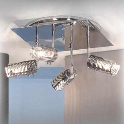 Люстра Lussole LSL-5601-04 Carpenara хромПотолочные<br>Этот светильник благодаря четырем плафонам и универсальной конструкции, можно устанавливать не только на стенах, но и в качестве потолочной люстры.  Он подойдет в любое помещение, кроме того, с помощью поворота осей можно осветить различные зоны, а также сделать свет более рассеянным, направив его в потолок, или направленным, опустив плафоны вертикально вниз.  Монохромный цвет и простая конструкция великолепно впишутся в любой современный интерьер!<br><br>S освещ. до, м2: 11<br>Тип лампы: галогенная / LED-светодиодная<br>Тип цоколя: G9<br>Цвет арматуры: серебристый хром<br>Количество ламп: 4<br>Ширина, мм: 240<br>Расстояние от стены, мм: 130<br>Высота, мм: 240<br>MAX мощность ламп, Вт: 40