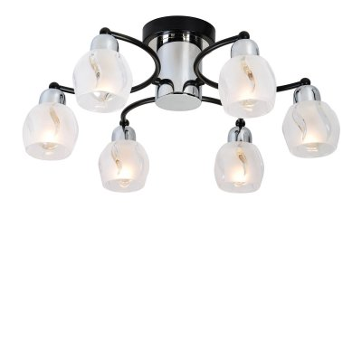 Люстра Lussole LSL-8503-06 VIESTEПотолочные<br>Потолочный светильник Lussole Lsl-8503-06 прекрасно впишется в комнату площадью до 16 кв.м. и невысоким потолком, оформленную в стиле «модерн»! Оригинальная конструкция и эффектное сочетание насыщенного черного и прозрачного оттенков привлекают к себе внимание и покоряют с первого взгляда. Шесть плафонов, расположенных на равном друг от друга расстоянии, создают равномерно яркое освещение всего пространства. Рекомендуем Вам в качестве подсветки использовать комплект настенных бра, чтобы интерьер выглядел совершенным, уютным и стильным.<br><br>Установка на натяжной потолок: Да<br>S освещ. до, м2: 16<br>Крепление: Планка<br>Тип лампы: накаливания / энергосбережения / LED-светодиодная<br>Тип цоколя: E14<br>Цвет арматуры: серебристый<br>Количество ламп: 6<br>Диаметр, мм мм: 500<br>Высота, мм: 210<br>MAX мощность ламп, Вт: 40