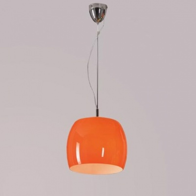 Светильник Lussole LSN-0216-01 Mela хромОдиночные<br>LSN-0216-01<br><br>S освещ. до, м2: 4<br>Тип товара: Светильник подвесной<br>Скидка, %: 16<br>Тип лампы: накаливания / энергосбережения / LED-светодиодная<br>Тип цоколя: E27<br>Количество ламп: 1<br>MAX мощность ламп, Вт: 100<br>Диаметр, мм мм: 260<br>Высота, мм: 300-1570<br>Оттенок (цвет): оранжевый<br>Цвет арматуры: серебристый