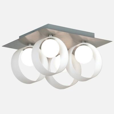 Люстра Lussole LSN-0407-04 Pallottola никельПотолочные<br>LSN-0407-04<br><br>Установка на натяжной потолок: Ограничено<br>S освещ. до, м2: 11<br>Крепление: Планка<br>Тип лампы: галогенная / LED-светодиодная<br>Тип цоколя: G9<br>Цвет арматуры: серый<br>Количество ламп: 4<br>Ширина, мм: 310<br>Длина, мм: 310<br>Высота, мм: 190<br>Оттенок (цвет): белый<br>MAX мощность ламп, Вт: 40
