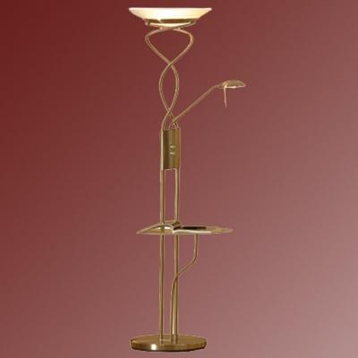 Торшер со столиком Lussole LSN-8945-02 ComfortСо столиком<br>торшер со столиком стеклянным (прозрачным), который может убираться при необходимости. Все лампы диммируются, не смотря на большую мощность ламп.<br><br>S освещ. до, м2: 25<br>Тип лампы: галогенная / LED-светодиодная<br>Тип цоколя: R7S/GY6,35<br>Количество ламп: 01.янв<br>MAX мощность ламп, Вт: 300/50<br>Диаметр, мм мм: 330<br>Высота, мм: 1820<br>Оттенок (цвет): белый<br>Цвет арматуры: золотой