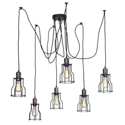 Люстра ретро Loft LSP-9310Подвесные<br>Люстра подвесная ретро стиля<br><br>Установка на натяжной потолок: Да<br>S освещ. до, м2: 6<br>Крепление: Планка<br>Тип лампы: накаливания / энергосбережения / LED-светодиодная<br>Тип цоколя: E27<br>Количество ламп: 6<br>MAX мощность ламп, Вт: 60<br>Диаметр, мм мм: 600<br>Высота, мм: 1200<br>Цвет арматуры: черный