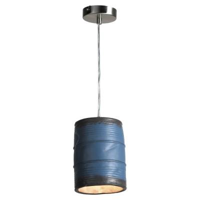 Подвесной светильник Loft LSP-9525одиночные подвесные светильники<br><br><br>Установка на натяжной потолок: да<br>S освещ. до, м2: 3<br>Крепление: планка<br>Тип лампы: накаливания / светодиодные<br>Тип цоколя: E27<br>Цвет арматуры: никель<br>Количество ламп: 1<br>Диаметр, мм мм: 110<br>Высота полная, мм: 1200<br>Высота, мм: 300<br>Оттенок (цвет): синий<br>MAX мощность ламп, Вт: 40