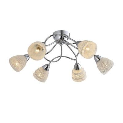 Светильник Lussole Loft LSP-9903Потолочные<br><br><br>Установка на натяжной потолок: Да<br>S освещ. до, м2: 12<br>Тип лампы: Накаливания / энергосбережения / светодиодная<br>Тип цоколя: E14<br>Количество ламп: 6<br>MAX мощность ламп, Вт: 40<br>Диаметр, мм мм: 600<br>Высота, мм: 230