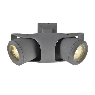 Светильник Lussole Loft LSP-9939Двойные<br><br><br>Тип лампы: галогенная/LED<br>Тип цоколя: GU10<br>Количество ламп: 2<br>Ширина, мм: 230<br>MAX мощность ламп, Вт: 50<br>Длина, мм: 130<br>Высота, мм: 110