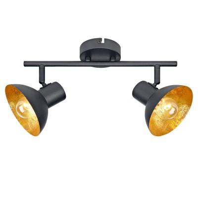 Светильник LOFT LSP-9974двойные светильники споты<br><br><br>Тип лампы: Накаливания / энергосбережения / светодиодная<br>Тип цоколя: E14<br>Цвет арматуры: черный<br>Количество ламп: 2<br>Ширина, мм: 120<br>Длина, мм: 350<br>Высота, мм: 150<br>MAX мощность ламп, Вт: 40