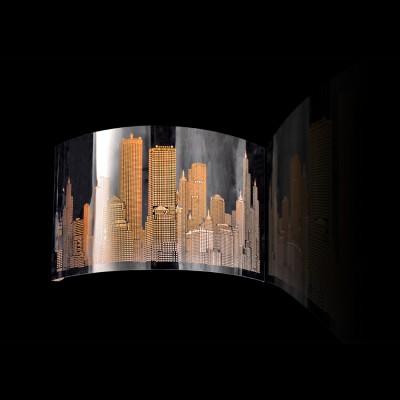 Светильник бра Lamplandia 2131 CityХай-тек<br>Современная бра из металла цвета хром, с перфорированным лазером узором  стилизованного города<br><br>S освещ. до, м2: 4<br>Крепление: настенный<br>Тип лампы: накаливания / энергосбережения / LED-светодиодная<br>Тип цоколя: E14<br>Цвет арматуры: серый<br>Количество ламп: 1<br>Ширина, мм: 300<br>Длина, мм: 300<br>Высота, мм: 90<br>MAX мощность ламп, Вт: 60