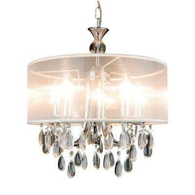 Люстра Lamplandia 3276-5 Diana whiteПодвесные<br>Стильная люстра с металлическим основанием цвета хром .Декоративные элементы выполнены из прозрачного акрила  , имеют хорошую  прочность  .<br><br>Установка на натяжной потолок: Да<br>S освещ. до, м2: 13<br>Крепление: потолочный<br>Тип лампы: накаливания / энергосбережения / LED-светодиодная<br>Тип цоколя: E14<br>Цвет арматуры: серый<br>Количество ламп: 5<br>Ширина, мм: 400<br>Длина, мм: 400<br>Высота, мм: 450 - 1250<br>MAX мощность ламп, Вт: 40
