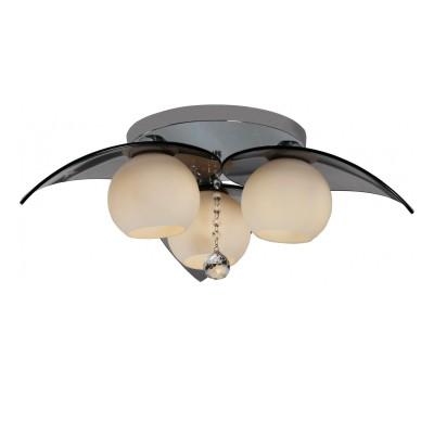 Люстра Lamplandia 3308-3 BaliПотолочные<br>Современная модель с металлическим основанием цвета-хром. Плафоны в виде шара и лепестков изготовлены из стекла белого матового и дымчатого цвета<br><br>Установка на натяжной потолок: Ограничено<br>S освещ. до, м2: 12<br>Крепление: Планка<br>Тип лампы: накаливания / энергосбережения / LED-светодиодная<br>Тип цоколя: E27<br>Цвет арматуры: серебристый<br>Количество ламп: 3<br>Диаметр, мм мм: 600<br>Высота, мм: 360<br>MAX мощность ламп, Вт: 60