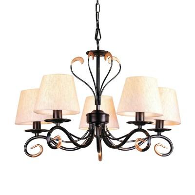 Люстра Lamplandia 3506-5 SaraПодвесные<br>Классическая люстра из металла черного-золотого цвета с гармонично сочитающимися абажурами бежевого цвета<br><br>Установка на натяжной потолок: Да<br>S освещ. до, м2: 13<br>Крепление: Крюк<br>Тип лампы: накаливания / энергосбережения / LED-светодиодная<br>Тип цоколя: E14<br>Цвет арматуры: коричневый<br>Количество ламп: 5<br>Ширина, мм: 630<br>Длина, мм: 630<br>Высота, мм: 420 - 740<br>MAX мощность ламп, Вт: 60