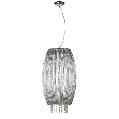 Светильник подвесной Lussole LSC-8416-09 PIAGGEодиночные подвесные светильники<br>Подвесной светильник Lussole Lsc-8416-09 станет прекрасным дополнением к световому оформлению современного интерьера. Плафон и подвески из высококачественного итальянского хрусталя формируют великолепную конструкцию люстры, отраженный многочисленными гранями свет красиво преломляется и образует неповторимое сияние, свойственное только хрустальным источникам света. Прозрачные «кристаллы» идеально подходят ко всем цветовым оттенкам помещения – от однотонных до разноцветных. Рекомендуем Вам совместно с люстрой использовать другие хрустальные источники света – настенные бра, настольную лампу и торшер, чтобы интерьер выглядел «цельным», гармоничным и элегантным.<br><br>S освещ. до, м2: 8<br>Тип лампы: накаливания / энергосбережения / LED-светодиодная<br>Тип цоколя: e14<br>Цвет арматуры: серебристый<br>Количество ламп: 9<br>Диаметр, мм мм: 350<br>Высота, мм: 1500<br>Оттенок (цвет): серебристый<br>MAX мощность ламп, Вт: 40