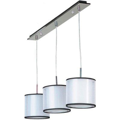 Светильник Lussole Lsf-2206-03Тройные<br>Подвесной светильник Lussole Lsf-2206-03 - великолепный экземпляр итальянского мастерства, в котором воплотились лучшие характеристики стиля «модерн»: броская, запоминающая конструкция, «металлические» элементы, современные цветовые оттенки! Три цилиндрических плафона, выполненные из плотной ткани, создают направленное, комфортное для зрения освещение на площади до 9 кв.м. «Вытянутая» конструкция наиболее выигрышно будет смотреться при подсветке похожей по форме поверхности, например, прямоугольного стола, барной стойки или кровати. Рекомендуем Вам в оформлении комнаты использовать также настенные бра, настольную лампу, люстру и торшер из этой же серии, чтобы интерьер выглядел по-дизайнерски профессиональным и совершенным.<br><br>S освещ. до, м2: 9<br>Тип лампы: накаливания / энергосбережения / LED-светодиодная<br>Тип цоколя: e27<br>Количество ламп: 3<br>Ширина, мм: 180мм<br>MAX мощность ламп, Вт: 60<br>Длина, мм: 800мм<br>Высота, мм: 1200мм<br>Оттенок (цвет): белый<br>Цвет арматуры: серебристый