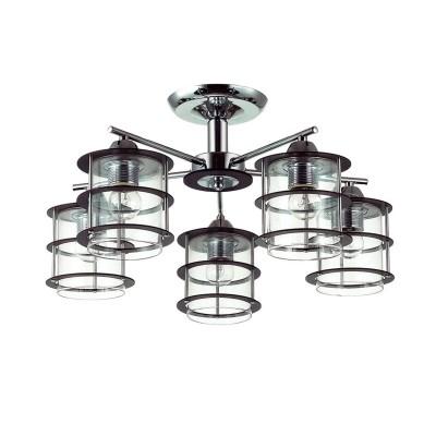 Люстра потолочная Lumion 3504/5C ROTONDUMПотолочные<br>Стильная и современная серия Rotondum отличается оригинальными плафонами, выполненными из прозрачного круглого стекла, обрамленного деревянной решеткой. Такой светильник станет отличным оформлением интерьера в современном или японском стиле<br><br>S освещ. до, м2: 15<br>Тип лампы: Накаливания / энергосбережения / светодиодная<br>Тип цоколя: E27<br>Количество ламп: 5<br>Диаметр, мм мм: 530<br>Высота, мм: 270<br>Оттенок (цвет): серебристный хром<br>MAX мощность ламп, Вт: 60